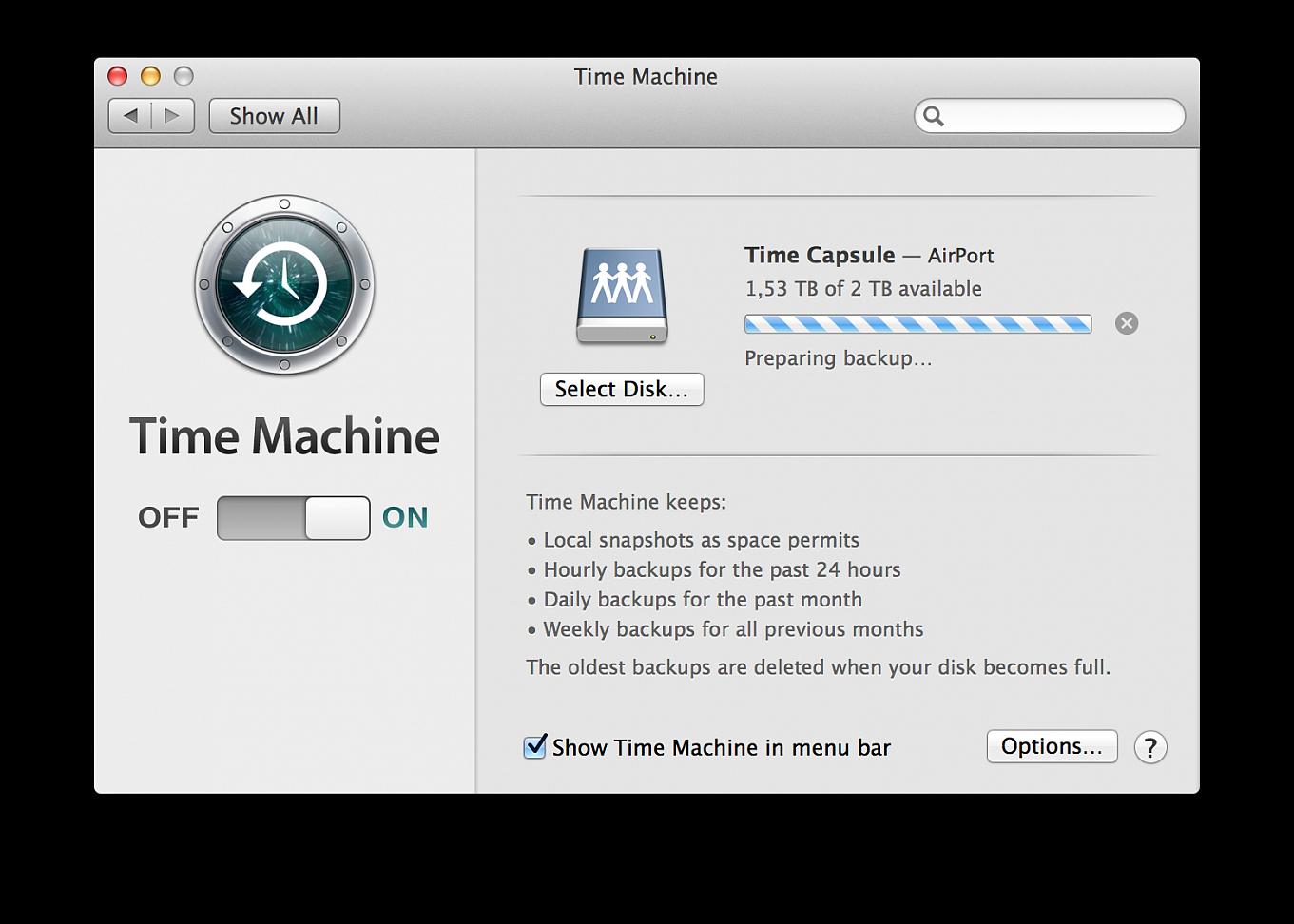 time machine stuck on preparing